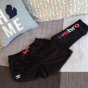 NEW Umbro Soccer Jogger Pants Girls 14/16 XS Black